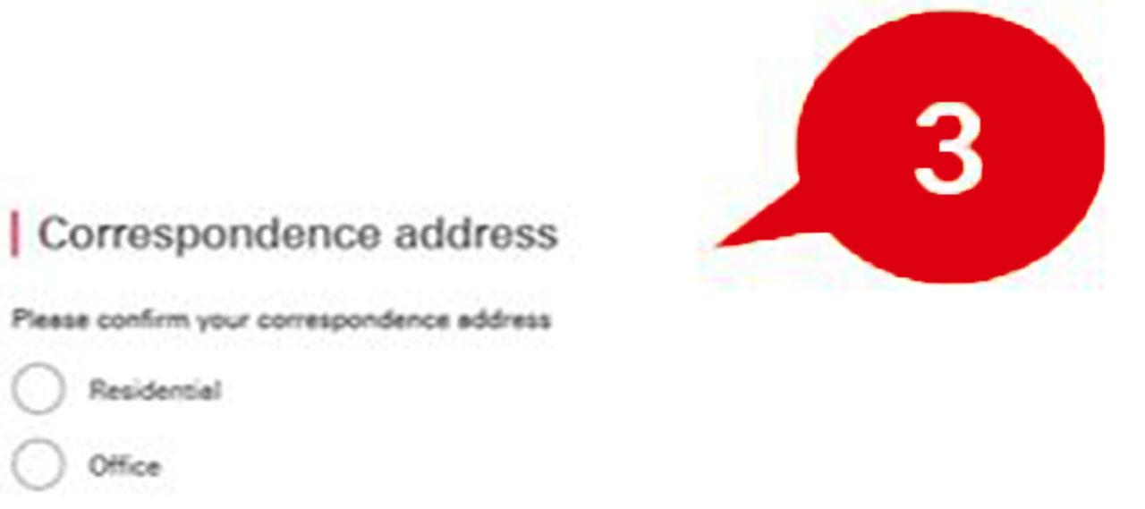 Step 3 of online application form, correspondence address