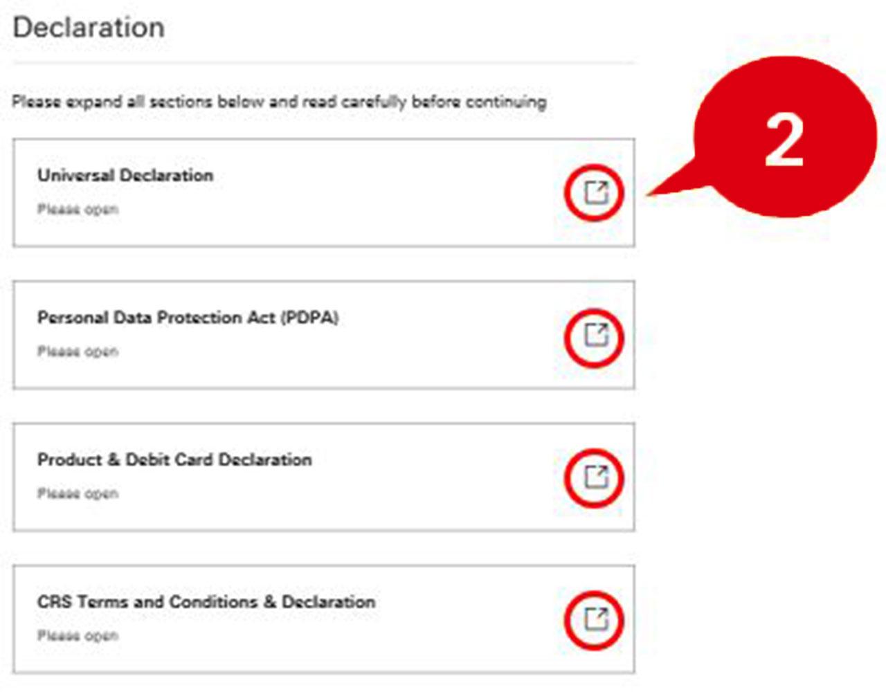 Step 5 of online application form, declaration
