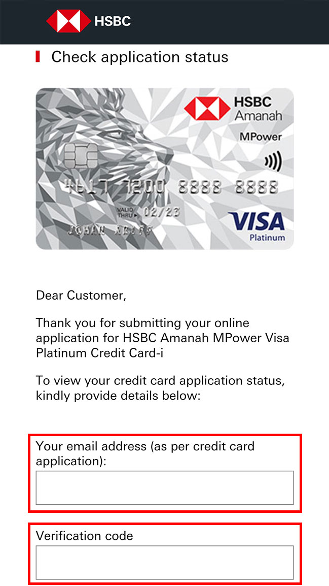 online credit card application step for email address and verification code