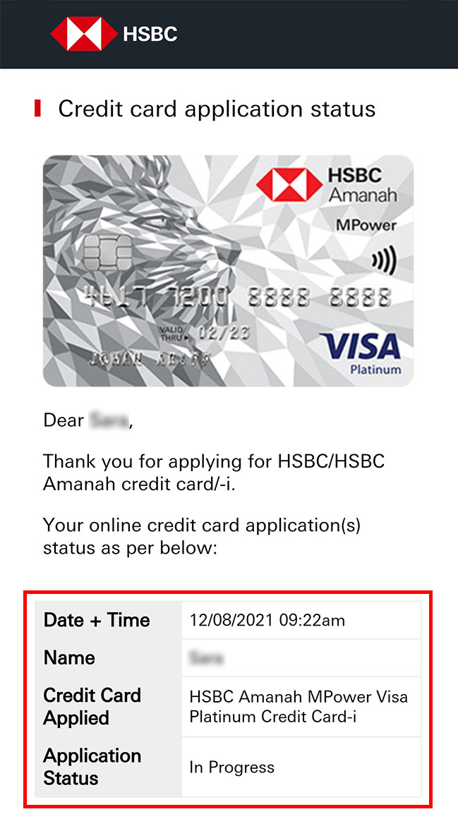online credit card application status overview