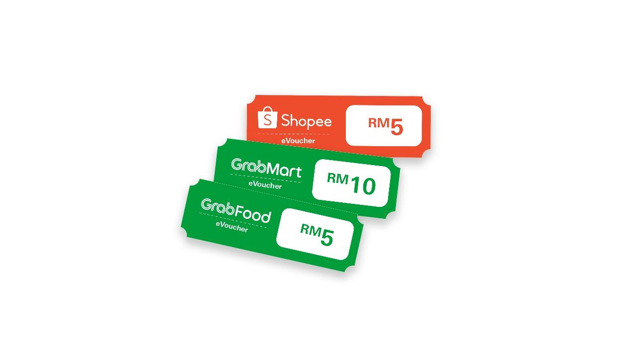 Shopee, GrabFood and GrabMart eVouchers