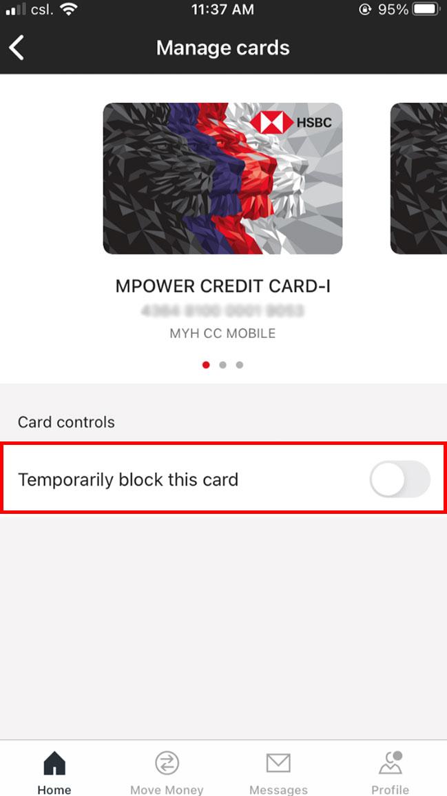 successful card block or unblock interface