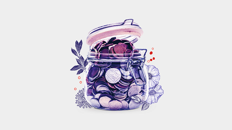 Illustration of a full coin jar; image used for HSBC Amanah Premier World Mastercard Credit Card-i page.